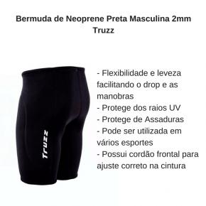 Bermuda de Neoprene Preta Masculina 2mm Truzz
